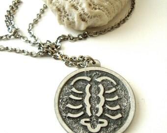 Vintage Jorgen Jensen Cancer Pewter Necklace / Mid Century / Scandinavian