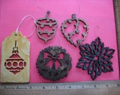 Small wooden scrollsaw ornaments and gift package tags