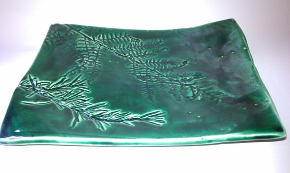 Textured Ceramic sushi plate with rosemary and fern