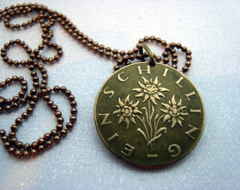 EDELWEISS necklace - 1987 1982 1991 Edelweiss coin necklace - Austria necklace - Flower Necklace - Coin Jewelry - Edelweiss flower pendant