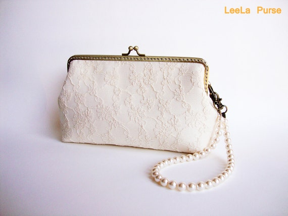 Bridal Clutch Purse - Cream-Vanilla silk Lace Clutch for Wedding Vintage Inspired with Swarovski Crystal Pearl Handle / Last one