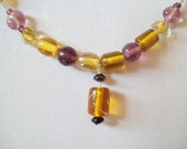 Amber and Amethyst Lampwork Bead Necklace, Gold and Purple Glass Bead Necklace.  ID 011