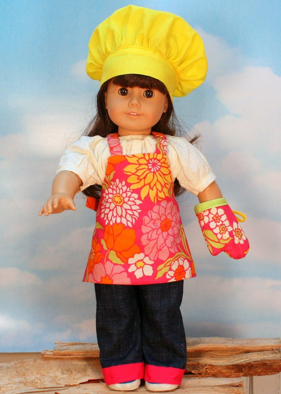 American Girl Doll Apron, Chef Hat and Oven Mitt in Pink Posies