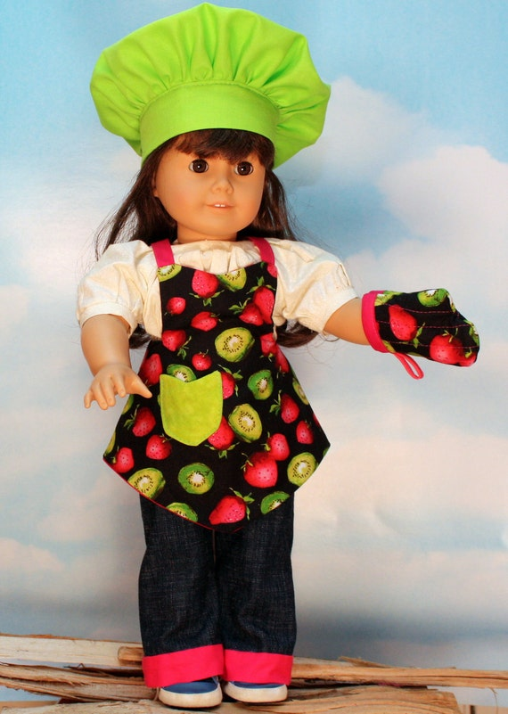 American Girl Vintage Apron, Chef Hat and Oven Mitt in Kiwi and Strawberries