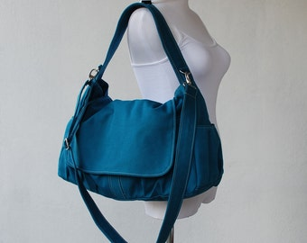 Messenger Bag - 40% Sale SALE SALE - Teal, School Bag, Shoulder Bag, Women, Canvas School bag, crossbody bag , Gift for Her