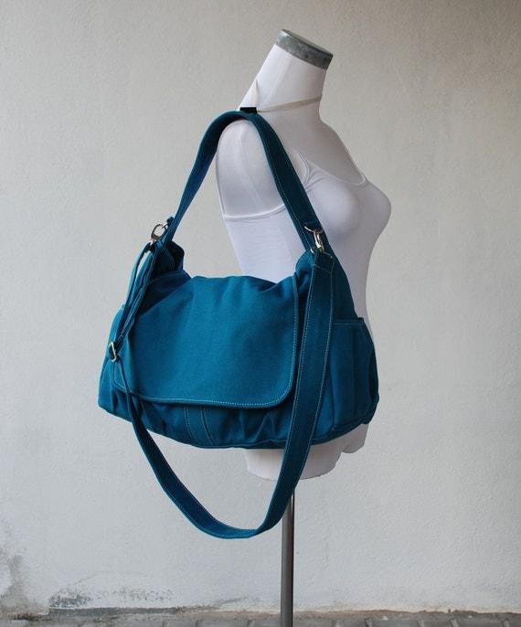 Messenger Bag - 40% Sale SALE SALE - Teal, School Bag, Shoulder Bag, Women, Canvas School bag, crossbody bag , Gift for Her