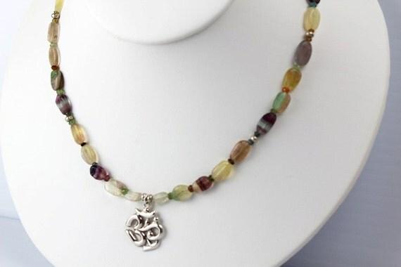 Om Necklace, Om Pendant, Om, Amethyst Necklace, Tourmaline, yoga inspired jewelry, yoga jewelry