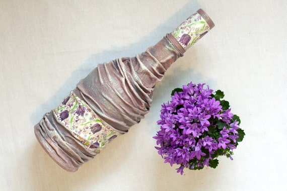 Rhapsody Purple Bottle, Upcycled Art in Pastel Lilac, Gift for her. Wedding gift or Wedding decor / Home decor