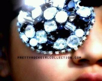 Tila Eyepatch with spikes/rhinestones, rhinestone eyepatch, decorated eyepatch, jeweled eyepatch