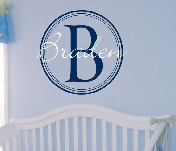 Baby Boy Name Wall Decal Nursery Monogram Wall Decal Decals for Boys Vinyl Lettering Nursery Decor Circle Initial Personalized