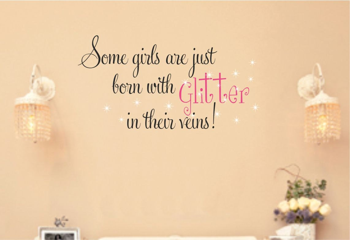 Girls Saying Wall Decal Glitter Vinyl Wall Quote Baby Girl - Custom vinyl wall decals saying