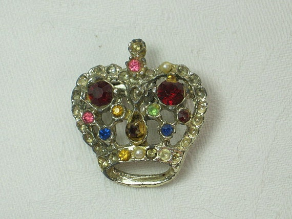 Vintage RHiNESTONE CROWN BROOCH Pin Retro GIft