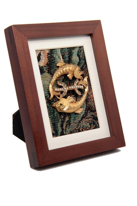 Framed Vintage Pisces Brooch on Tapestry in Modern Wooden Frame