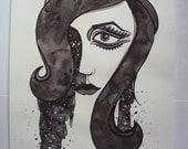 Black and White Cosmic Series MOD Watercolor Portrait