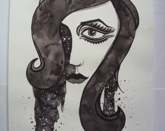 Black and White Cosmic Series MOD Watercolor Portrait