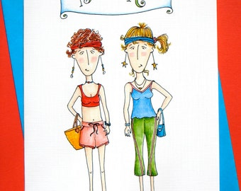 Women Friendship Card - Running Friends - Best Friends Card - Born to Run
