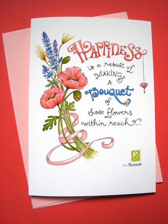 Inspirational Card, Positive Quote - Be Happy Wildflowers Bouquet
