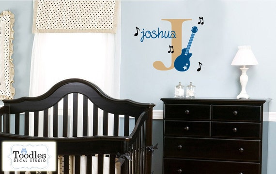 GUITAR rock star music Initial Name Monogram Vinyl Wall Decal