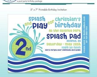 Pool Party Invitation - DIY Printable - Summer Stripes - Beach Birthday - Ocean