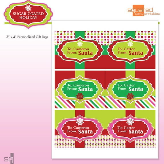Printable Santa Gift Tags - Customized With Name - Personalized - DIY ...