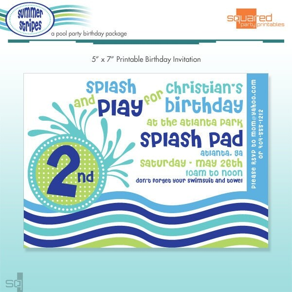 Pool Party Invitation DIY Printable Summer Stripes Beach – Pool Party Invitations Printable