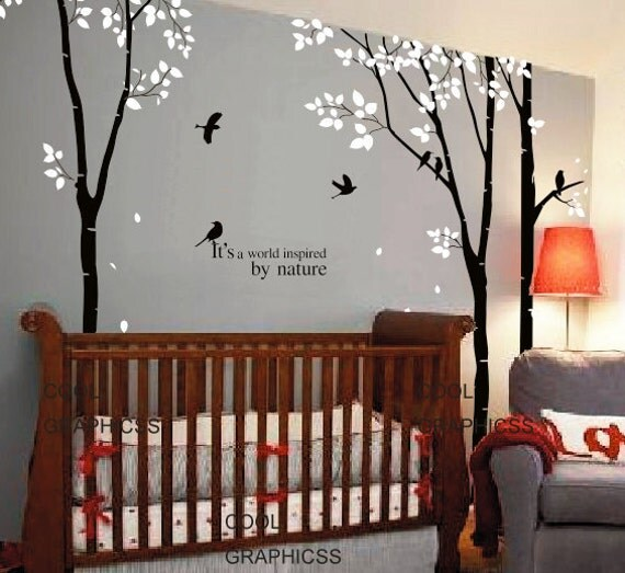 3 Birch Trees set  - 102 inches - Vinyl Wall Decal Sticker Art, Mural,Wall Hanging