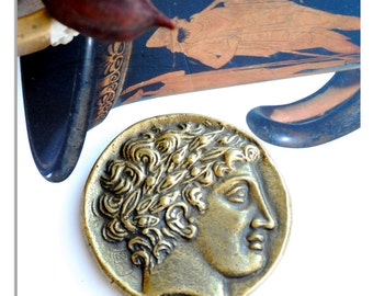 Ancient Greek Coin Paperweight, Alexander the Great Bronze Paperweight, Greek Coin Replica, Museum Quality Art, Desk Top Decor, Office Art
