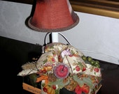 Autumn Harvest BOOK LAMP Fall Thanksgiving Small Table Candlestick Nightlight