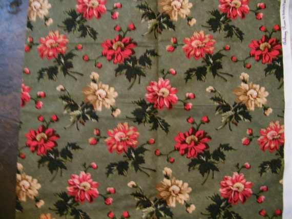 Fabric Sewing Yardage  red Roses on Olive Green  44 in wide x 1 yd 11 in long SSI screen print