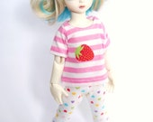 YoSD Pink and White Strawberry Stripe T shirt For BJD