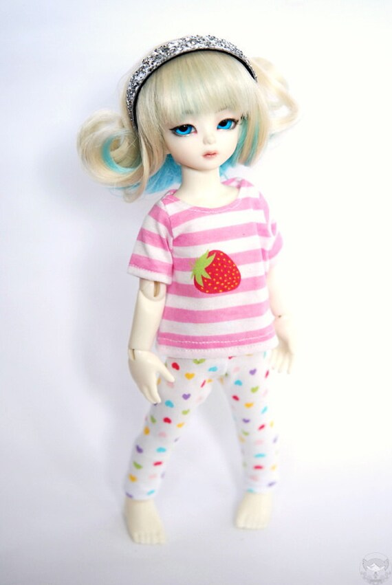 YoSD Pink and White Strawberry Stripe T shirt For BJD
