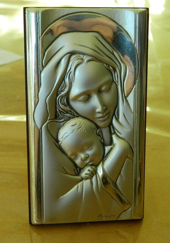 Italian Sterling Silver Madonna and Child Icon - Leader Argenti - Beautiful