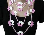 Crochet Flower Necklace, Bracelet, Jewelry, Lariat, Scarf,  Cyclamen and White, Girl, Woman