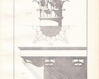 Drawing Architecture Vintage Print, Corinthian Capital and Modillion, Vignola 1920s