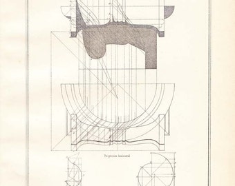 Vintage Architectural Print by VIganola, 1920s  Ionic Order Shadows Study Capital