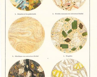 1920s Geology Vintage Print Rocks under a Microscope, Minerals, Science Illustration