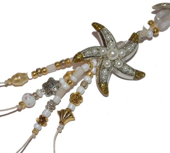 Starfish Bookmark OOAK with pearls Gold plated Hand Beaded Exquisite for her under 20