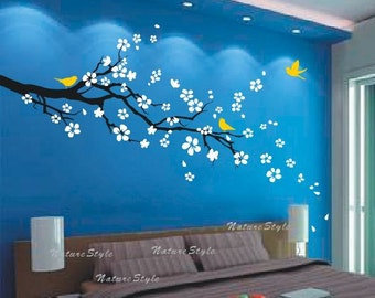 flowers wall decals cherry blossom vinyl wall decals baby girl nursery room wall sticker baby name wall decal-plum blossom with Flying Birds