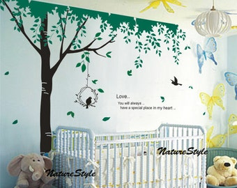 Green Tree with Flying Birds -Vinyl Wall Decal wall Sticker nursery decal baby room decor birds decal children room decal