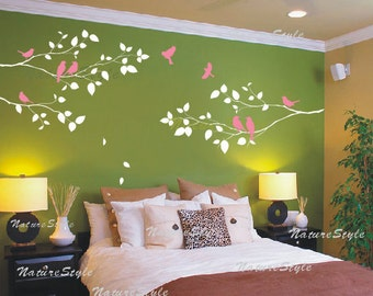 Branch decal wall decal branches wall decal flying birds nursery wall decor  baby decal room decor - Three Branches with Flying Birds
