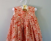 Girls Spring Dress in Custom Sizing 1T,  2T,  or 3T Orange and Cream