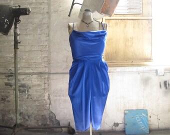 Vintage David Howard Karen Okada Cocktail Dress . Slinky Sapphire Dress Size Small