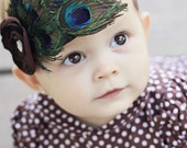 Peacock Feather Baby Headband - Newborn Headband - Photo Prop - Brown Satin Flower - Turquoise Feather Headband - Peacock Bow