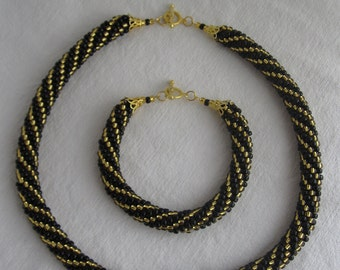 Gold in the night, Beaded necklace and bracelet set, Seed bead rope set, Bead crochet rope set