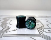 Circuit Board Plugs - Custom Size and Color - Black Acrylic Flared - Green Gold Blue Red - Cyborg Series