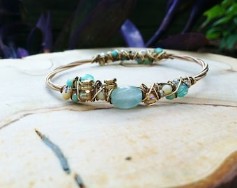 Turquoise and Honey- Double woven Recycled Guitar String Bangle Bracelet with Aquamarine. -March Birthstone, 19th Anniversary Gemstone-