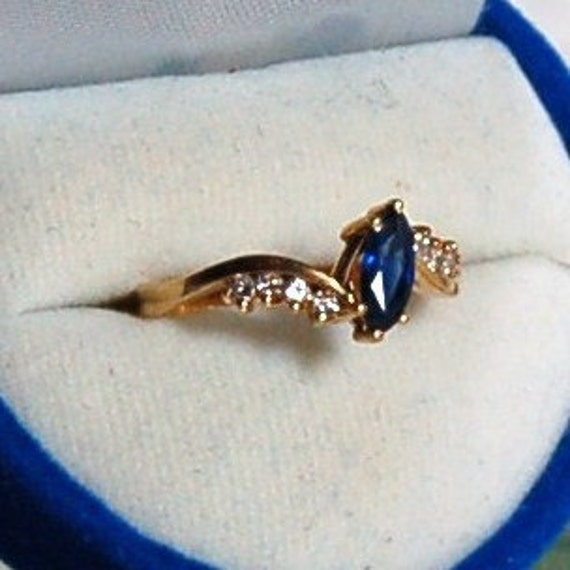 Vintage Estate 18K Yellow Gold Sapphire and Diamond Ring Sz 6.5 with Original Appraisal