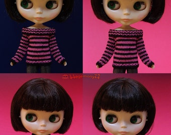 Hand knitted doll sweater for: Blythe, Dal, Monster High...