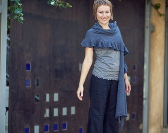 Hand-knitted shawl  - Jeans Women Wrap - 013