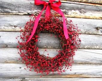 Valentines Day Wreath-Valentines Decor-RED Berry Wreath-Winter Door Decor-Summer Wreaths-Rustic Home Decor-Custom Scented Door Wreaths-Gift